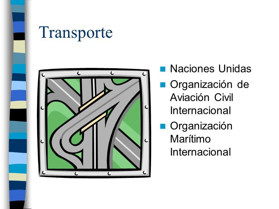 Transporte Naciones Unidas Organización de Aviación Civil Internacional Organización Marítimo Internacional