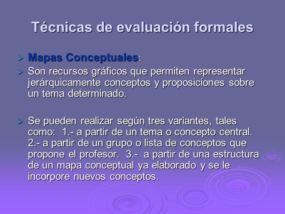 Técnicas de evaluación formales Mapas Conceptuales : Mapas Conceptuales : Son recursos gráficos que permiten representar jerárquicamente conceptos y p