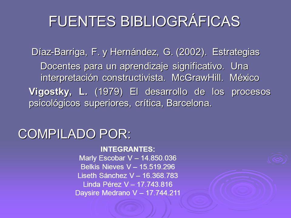 FUENTES BIBLIOGRÁFICAS Díaz-Barriga, F. y Hernández, G. (2002). Estrategias Díaz-Barriga, F. y Hernández, G. (2002). Estrategias Docentes para un apre