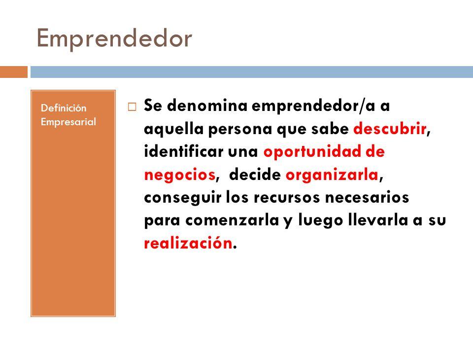 Emprendedor Definición Empresarial Se denomina emprendedor/a a aquella persona que sabe descubrir, identificar una oportunidad de negocios, decide org