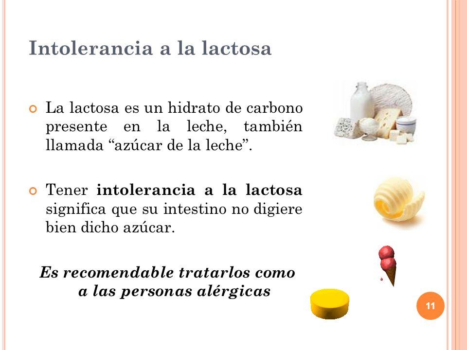 11 Intolerancia a la lactosa La lactosa es un hidrato de carbono presente en la leche, también llamada azúcar de la leche. Tener intolerancia a la lac