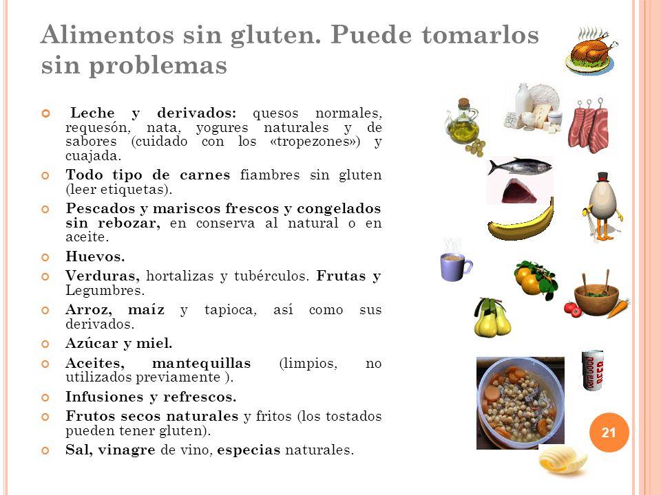 21 Alimentos sin gluten. Puede tomarlos sin problemas Leche y derivados: quesos normales, requesón, nata, yogures naturales y de sabores (cuidado con