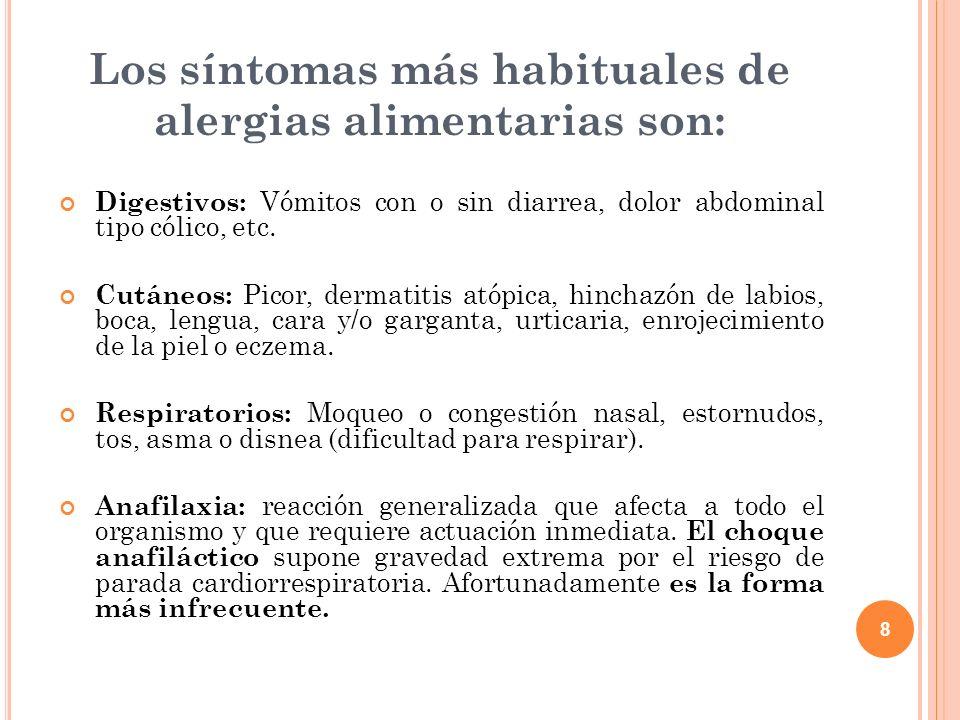 8 Los síntomas más habituales de alergias alimentarias son: Digestivos: Vómitos con o sin diarrea, dolor abdominal tipo cólico, etc. Cutáneos: Picor,