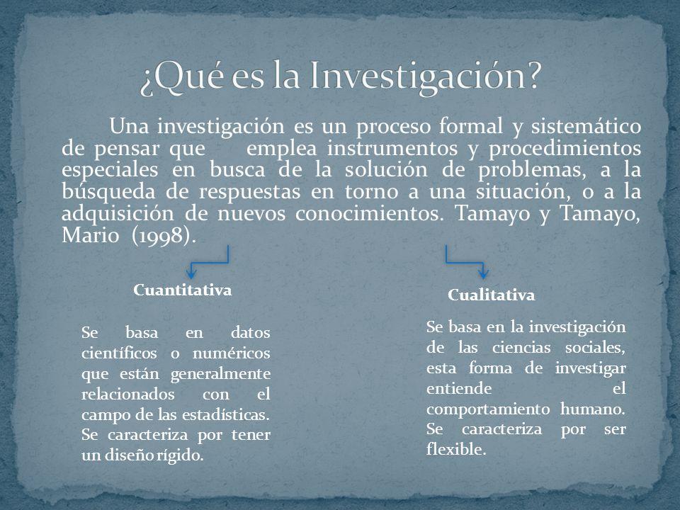 Una investigación es un proceso formal y sistemático de pensar que emplea instrumentos y procedimientos especiales en busca de la solución de problema