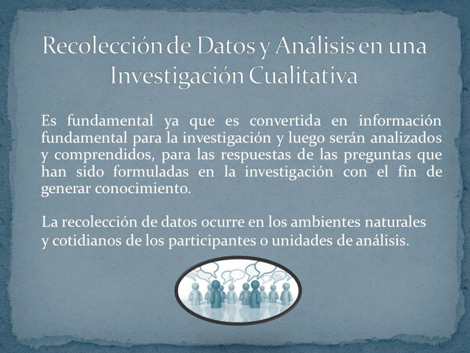 Es fundamental ya que es convertida en información fundamental para la investigación y luego serán analizados y comprendidos, para las respuestas de l