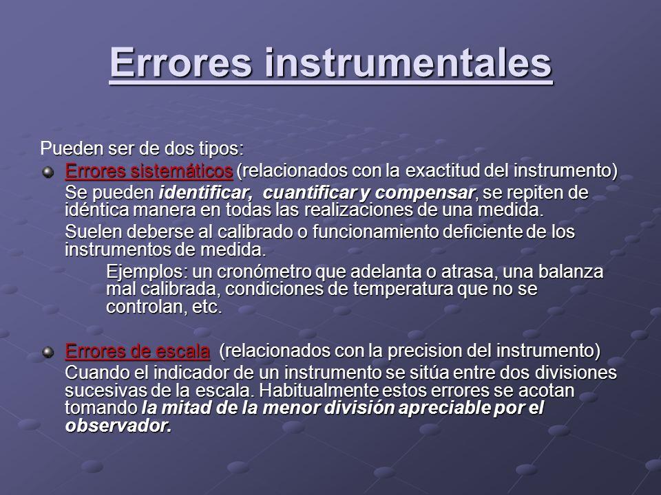 Errores instrumentales ueden ser de dos tipos: Pueden ser de dos tipos: Errores sistemáticos (relacionados con la exactitud del instrumento) Se pueden