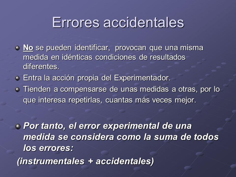 Errores accidentales No se pueden identificar, provocan que una misma medida en idénticas condiciones de resultados diferentes. Entra la acción propia