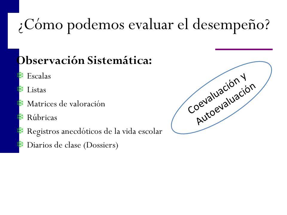Observación Sistemática: Escalas Listas Matrices de valoración Rúbricas Registros anecdóticos de la vida escolar Diarios de clase (Dossiers) ¿Cómo pod