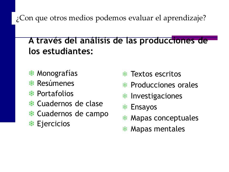 Monografías Resúmenes Portafolios Cuadernos de clase Cuadernos de campo Ejercicios A través del análisis de las producciones de los estudiantes: Texto