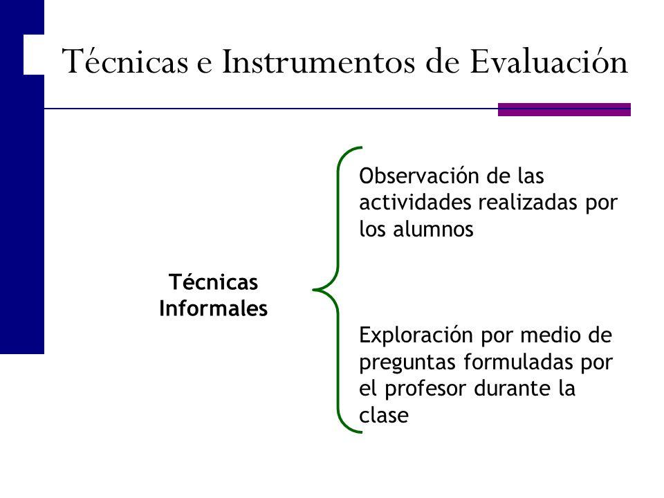Técnicas Informales Observación de las actividades realizadas por los alumnos Exploración por medio de preguntas formuladas por el profesor durante la