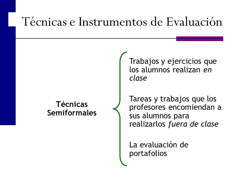 Técnicas Semiformales Trabajos y ejercicios que los alumnos realizan en clase Tareas y trabajos que los profesores encomiendan a sus alumnos para real