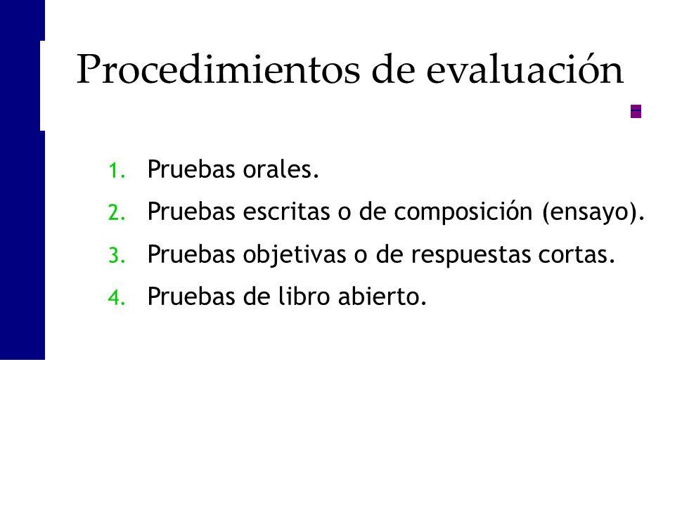 1. Pruebas orales. 2. Pruebas escritas o de composición (ensayo). 3. Pruebas objetivas o de respuestas cortas. 4. Pruebas de libro abierto. Procedimie