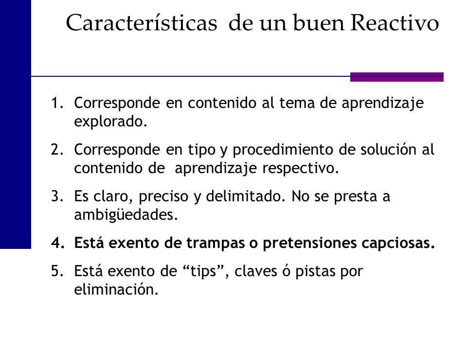 Características de un buen Reactivo 1.Corresponde en contenido al tema de aprendizaje explorado. 2.Corresponde en tipo y procedimiento de solución al