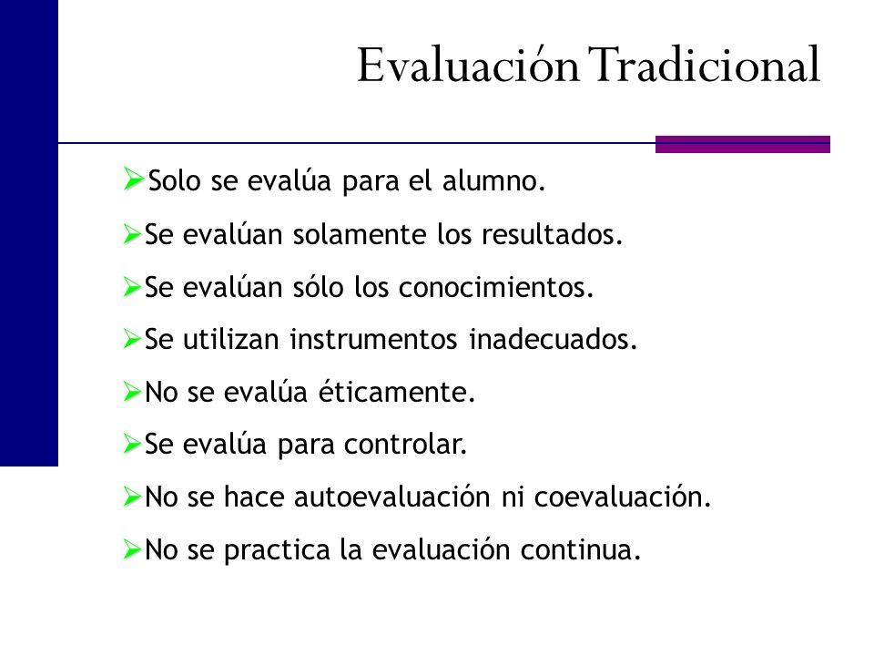 Evaluación Tradicional Solo se evalúa para el alumno. Se evalúan solamente los resultados. Se evalúan sólo los conocimientos. Se utilizan instrumentos