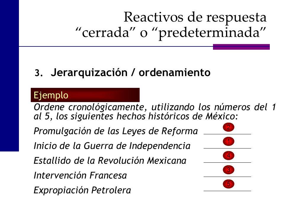 Ordene cronológicamente, utilizando los números del 1 al 5, los siguientes hechos históricos de México: Promulgación de las Leyes de Reforma Inicio de