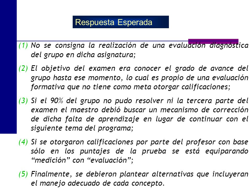 (1)No se consigna la realización de una evaluación diagnóstica del grupo en dicha asignatura; (2)El objetivo del examen era conocer el grado de avance