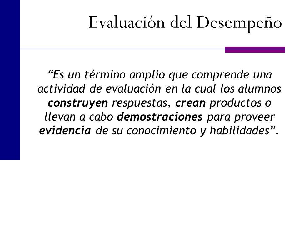 Evaluación del Desempeño Es un término amplio que comprende una actividad de evaluación en la cual los alumnos construyen respuestas, crean productos