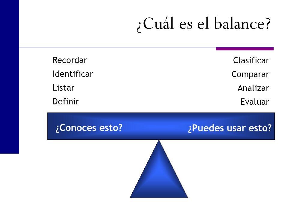 ¿Conoces esto? ¿Puedes usar esto? Recordar Identificar Listar Definir Clasificar Comparar Analizar Evaluar ¿Cuál es el balance?