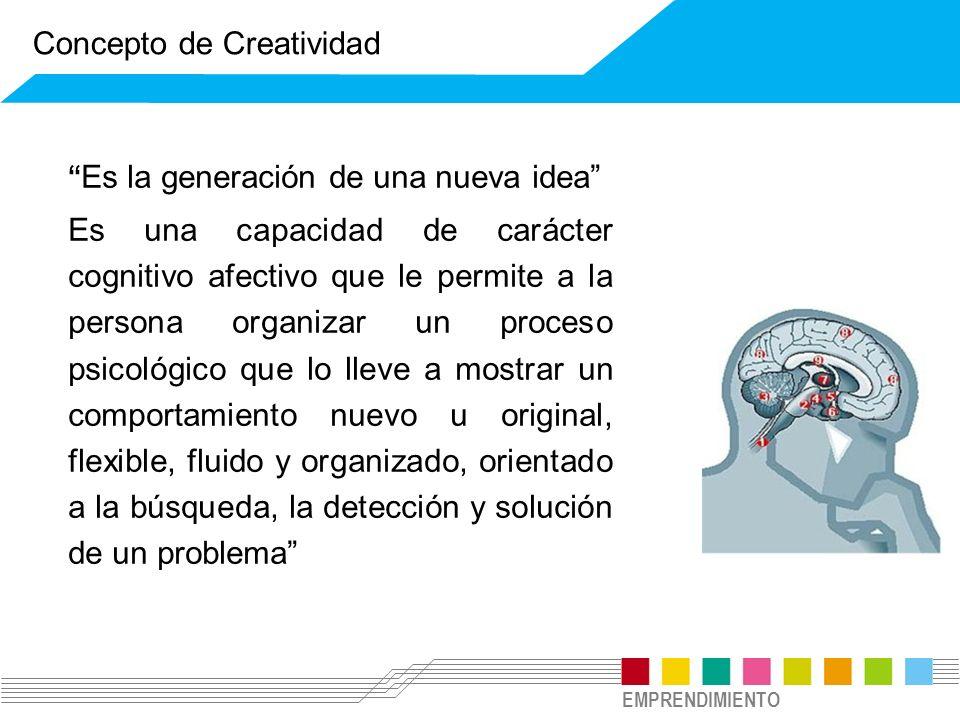 EMPRENDIMIENTO Es la generación de una nueva idea Es una capacidad de carácter cognitivo afectivo que le permite a la persona organizar un proceso psi