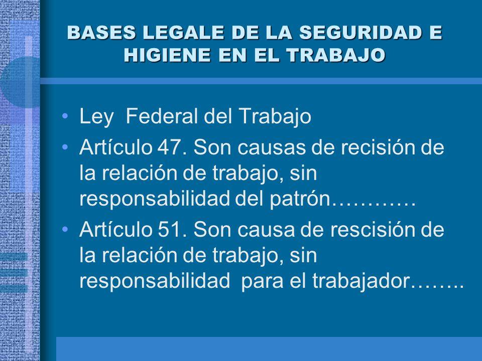 BASES LEGALE DE LA SEGURIDAD E HIGIENE EN EL TRABAJO Artículo 123 de la Constitución de los Estados Unidos mexicanos El patrón esta obligado a observa