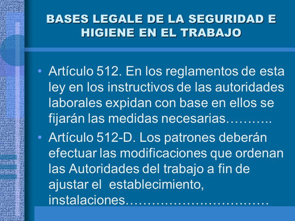 BASES LEGALE DE LA SEGURIDAD E HIGIENE EN EL TRABAJO Artículo 132. Son obligaciones de los patrones:…………………. Artículo 134. Son obligaciones de los tra