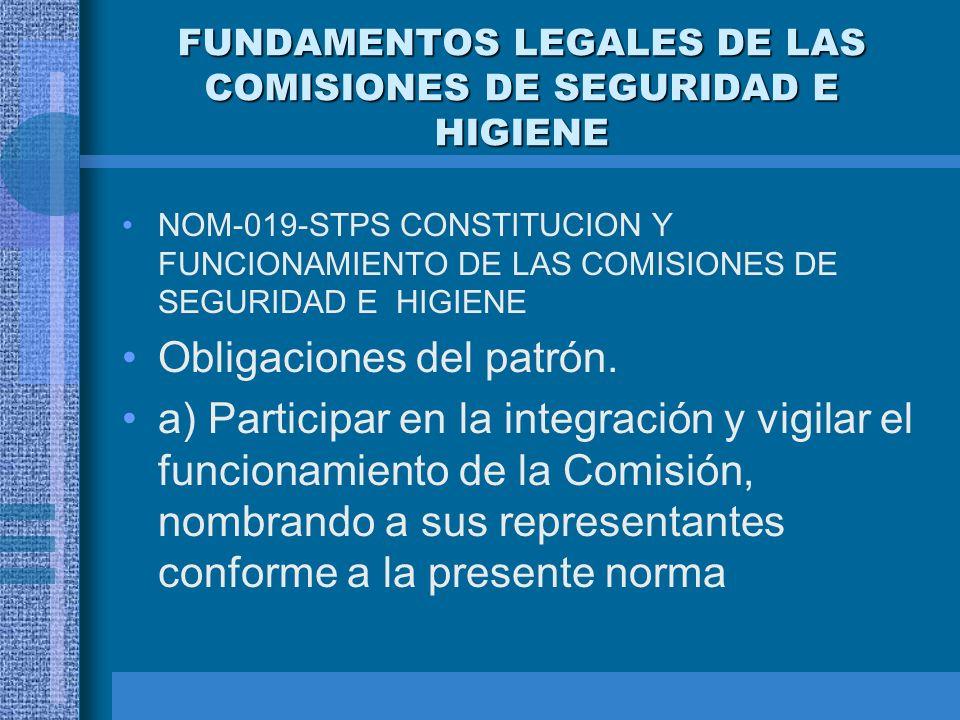 FUNDAMENTOS LEGALES DE LAS COMISIONES DE SEGURIDAD E HIGIENE Ley Federal del trabajo –Artículo 509 –Artículo 510 Reglamento Federal de Seguridad, Higi