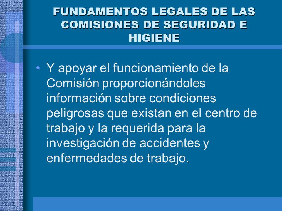 FUNDAMENTOS LEGALES DE LAS COMISIONES DE SEGURIDAD E HIGIENE OBLIGACIONES DE LOS TRABAJADORES Designar a los representantes que integrarán a la Comisi
