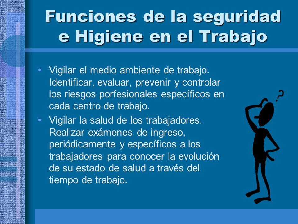 Funciones de la seguridad e Higiene en el Trabajo Vigilar el medio ambiente de trabajo.