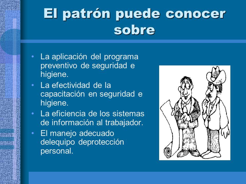 El patrón puede conocer sobre La aplicación del programa preventivo de seguridad e higiene.