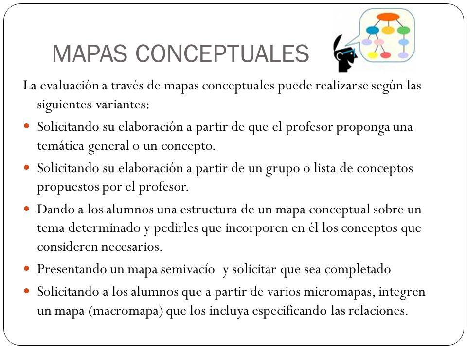 MAPAS CONCEPTUALES La evaluación a través de mapas conceptuales puede realizarse según las siguientes variantes: Solicitando su elaboración a partir d