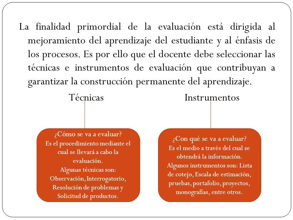 La finalidad primordial de la evaluación está dirigida al mejoramiento del aprendizaje del estudiante y al énfasis de los procesos. Es por ello que el