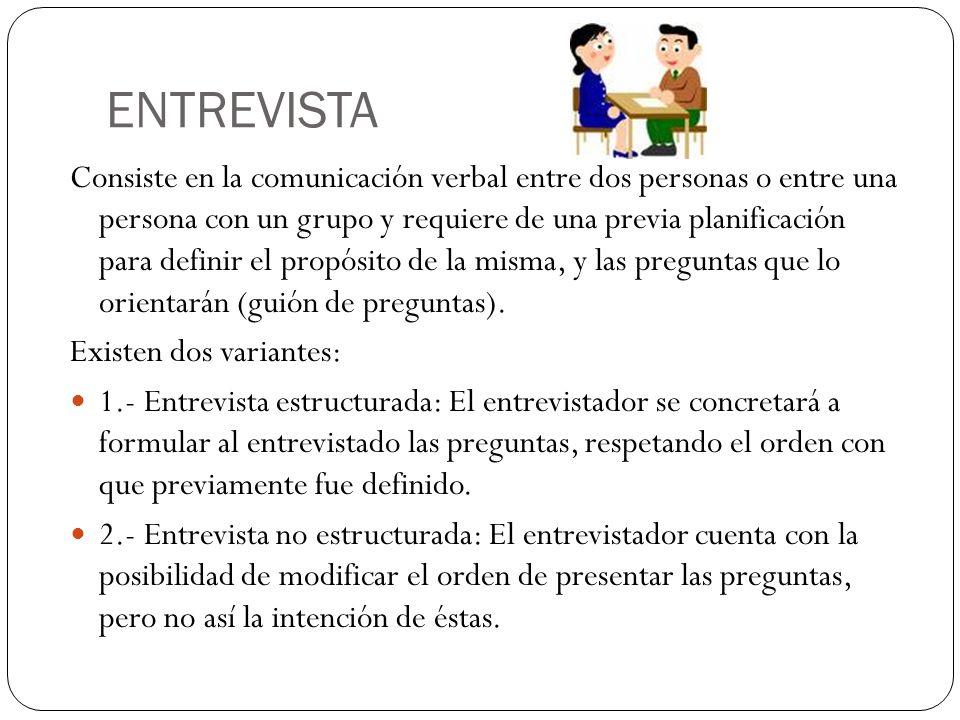ENTREVISTA Consiste en la comunicación verbal entre dos personas o entre una persona con un grupo y requiere de una previa planificación para definir