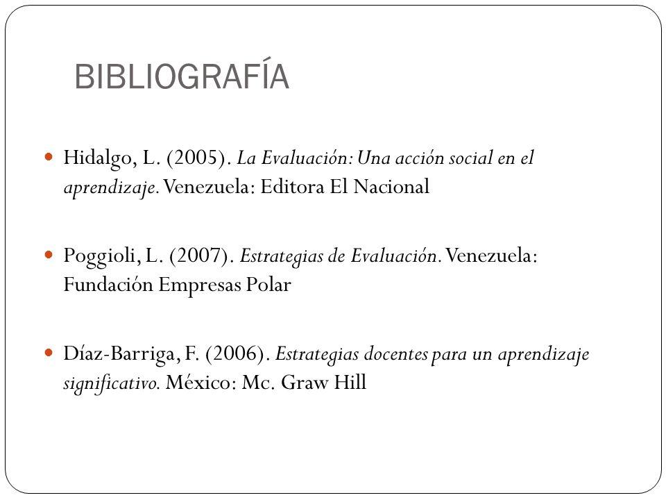 BIBLIOGRAFÍA Hidalgo, L. (2005). La Evaluación: Una acción social en el aprendizaje. Venezuela: Editora El Nacional Poggioli, L. (2007). Estrategias d
