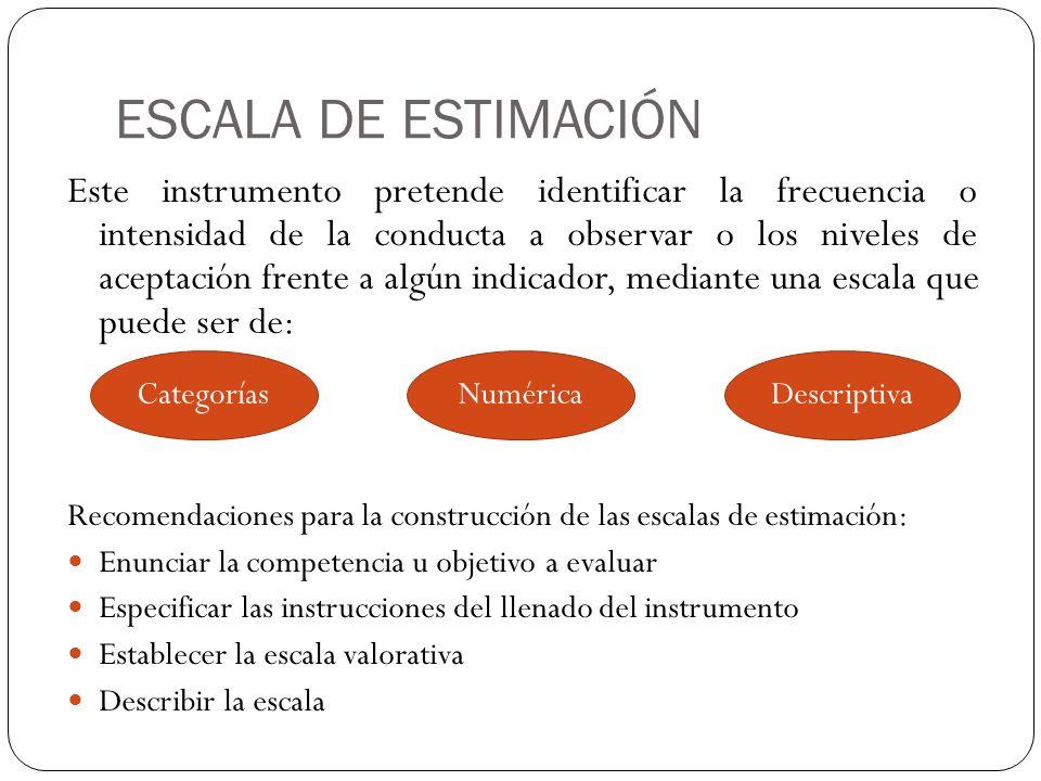 ESCALA DE ESTIMACIÓN Este instrumento pretende identificar la frecuencia o intensidad de la conducta a observar o los niveles de aceptación frente a a