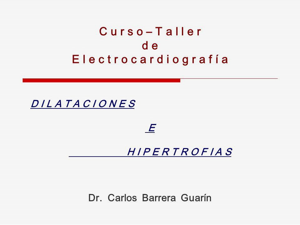 C u r s o – T a l l e r d e E l e c t r o c a r d i o g r a f í a D I L A T A C I O N E S E H I P E R T R O F I A S Dr. Carlos Barrera Guarín