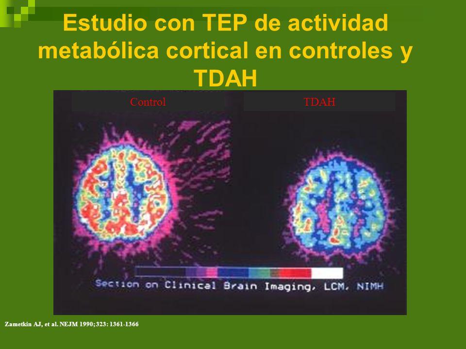 Estudio con TEP de actividad metabólica cortical en controles y TDAH ControlTDAH Zametkin AJ, et al. NEJM 1990; 323: 1361-1366
