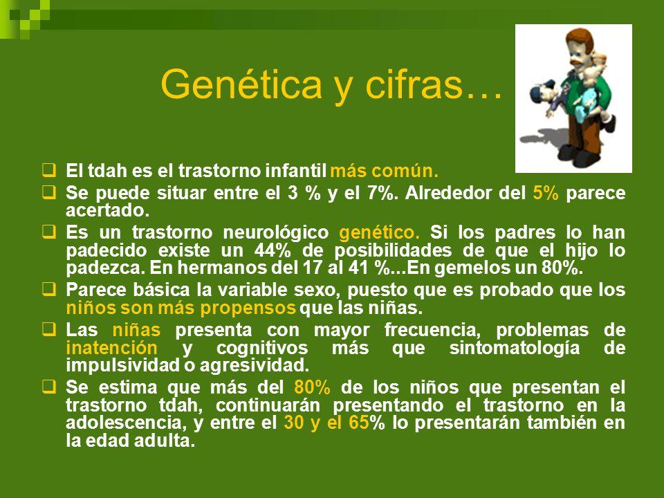 Genética y cifras… El tdah es el trastorno infantil más común. Se puede situar entre el 3 % y el 7%. Alrededor del 5% parece acertado. Es un trastorno