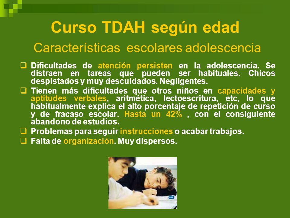 Curso TDAH según edad Características escolares adolescencia Dificultades de atención persisten en la adolescencia. Se distraen en tareas que pueden s
