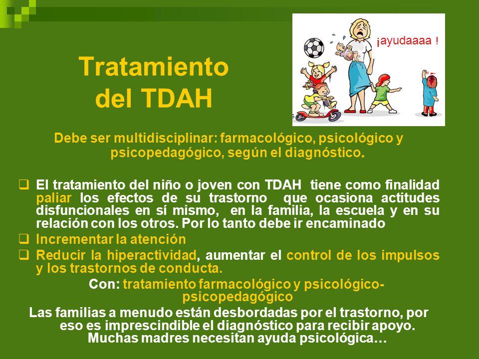 Tratamiento del TDAH Debe ser multidisciplinar: farmacológico, psicológico y psicopedagógico, según el diagnóstico. El tratamiento del niño o joven co
