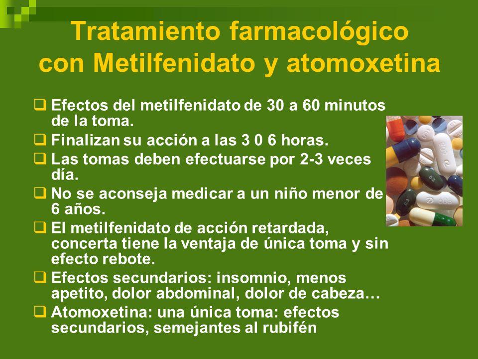 Tratamiento farmacológico con Metilfenidato y atomoxetina Efectos del metilfenidato de 30 a 60 minutos de la toma. Finalizan su acción a las 3 0 6 hor