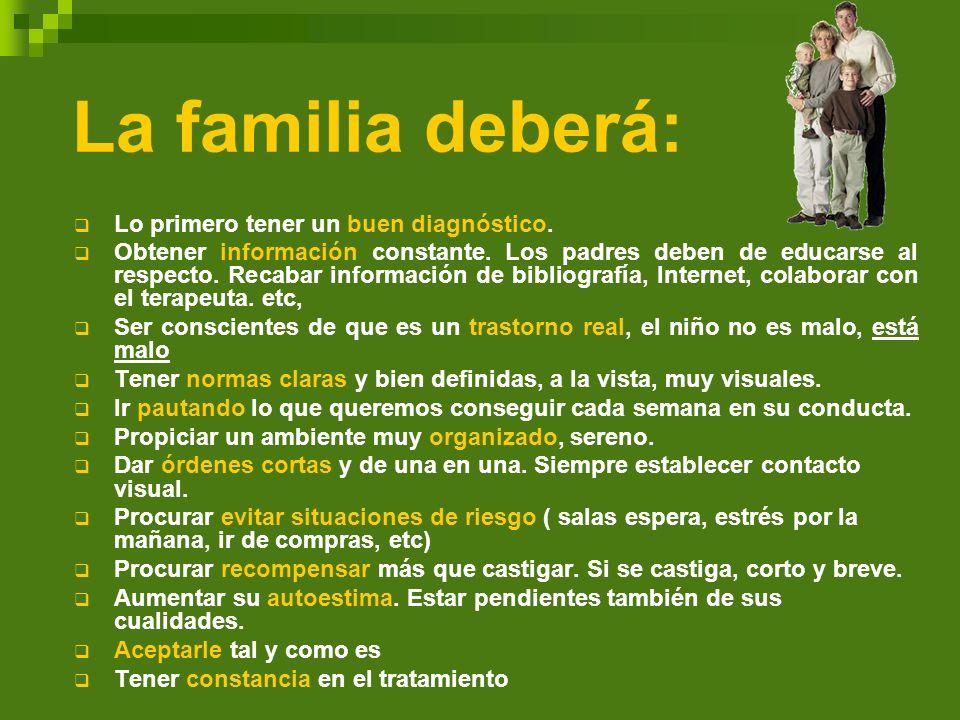 La familia deberá: Lo primero tener un buen diagnóstico. Obtener información constante. Los padres deben de educarse al respecto. Recabar información