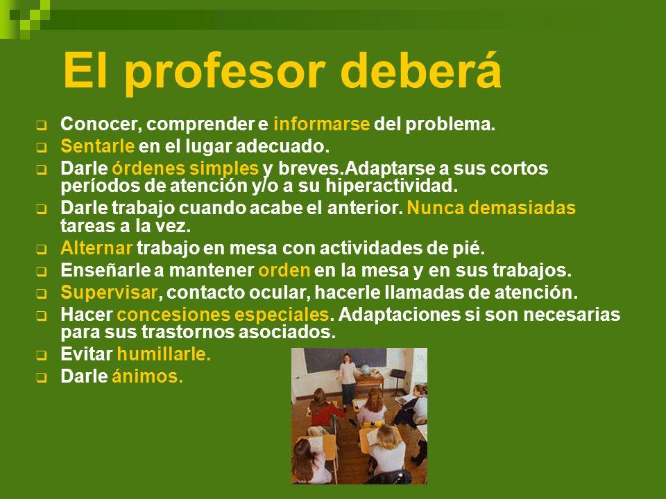 El profesor deberá Conocer, comprender e informarse del problema. Sentarle en el lugar adecuado. Darle órdenes simples y breves.Adaptarse a sus cortos