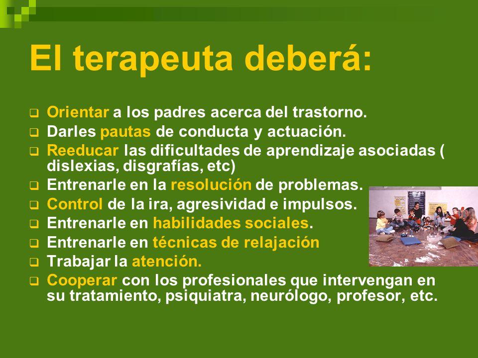 El terapeuta deberá: Orientar a los padres acerca del trastorno. Darles pautas de conducta y actuación. Reeducar las dificultades de aprendizaje asoci