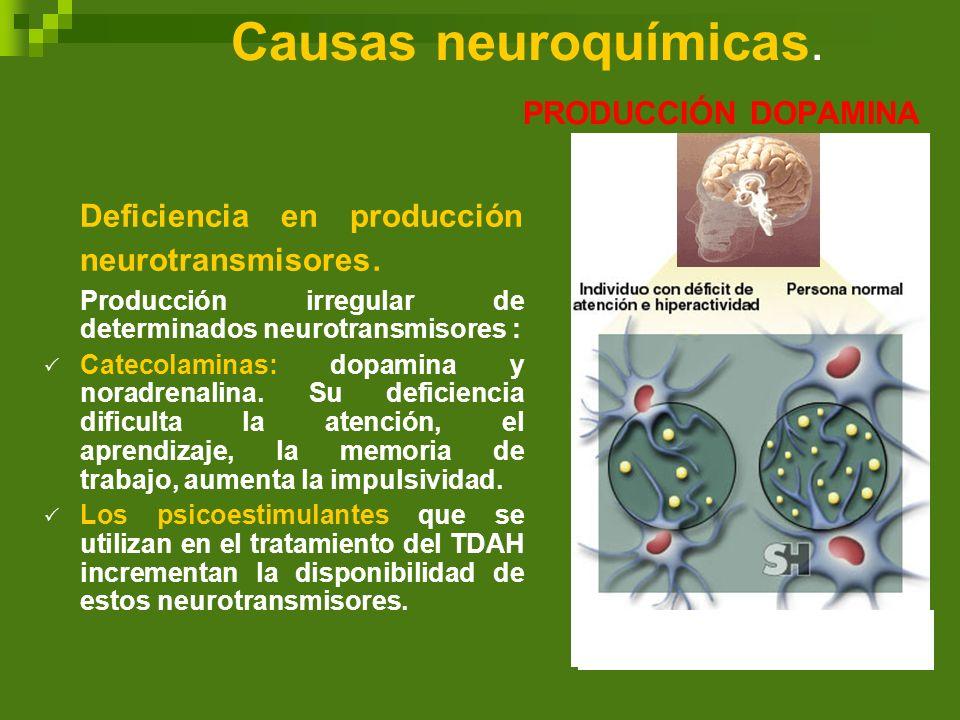 Causas neuroquímicas. PRODUCCIÓN DOPAMINA Deficiencia en producción neurotransmisores. Producción irregular de determinados neurotransmisores : Cateco
