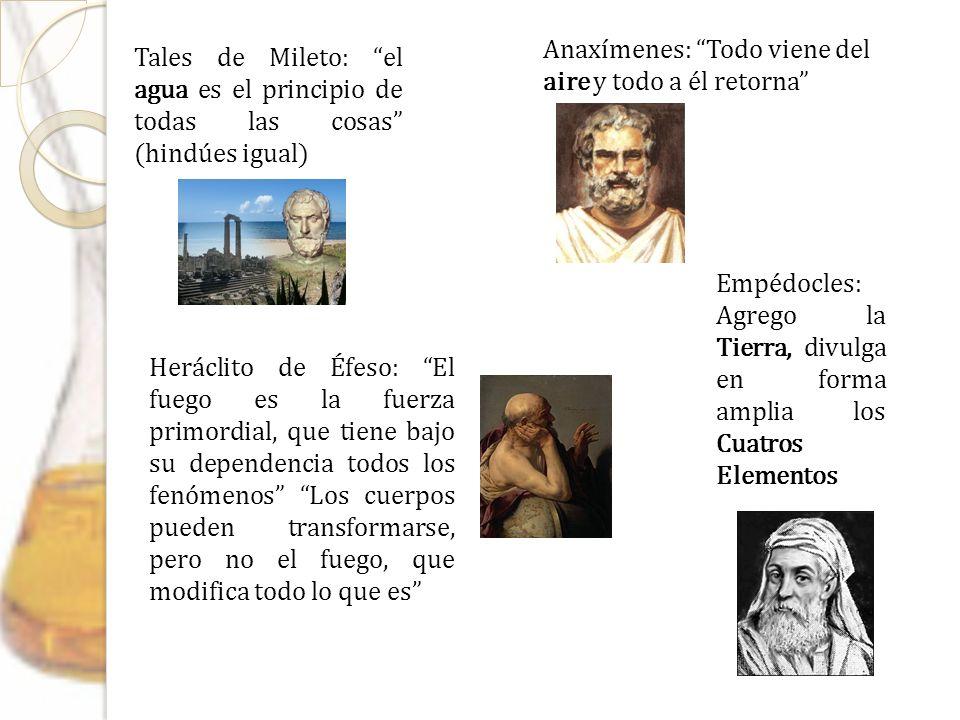Tales de Mileto: el agua es el principio de todas las cosas (hindúes igual) Anaxímenes: Todo viene del aire y todo a él retorna Heráclito de Éfeso: El