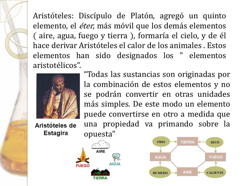 Aristóteles de Estagira Aristóteles: Discípulo de Platón, agregó un quinto elemento, el éter, más móvil que los demás elementos ( aire, agua, fuego y