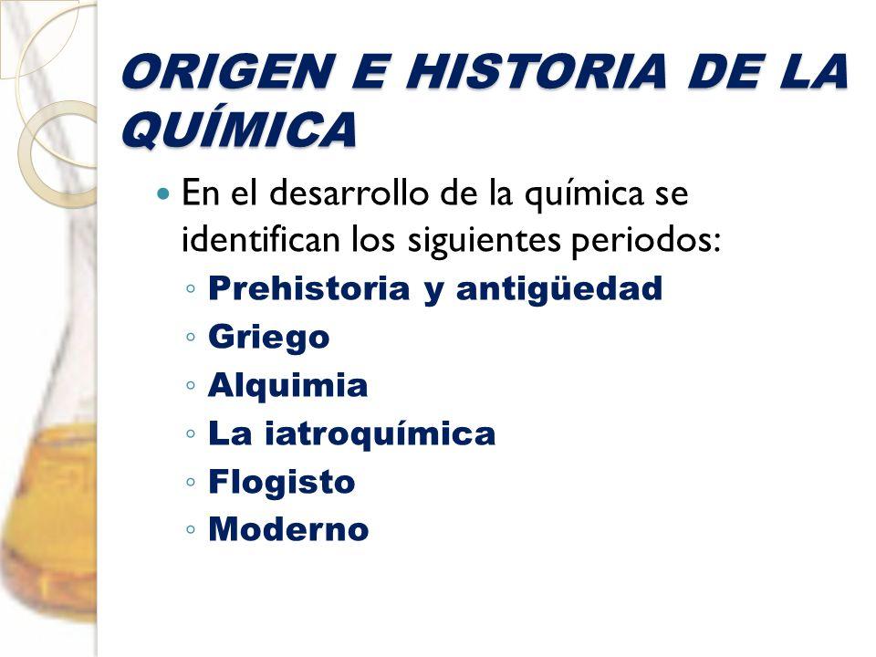 ORIGEN E HISTORIA DE LA QUÍMICA En el desarrollo de la química se identifican los siguientes periodos: Prehistoria y antigüedad Griego Alquimia La iat