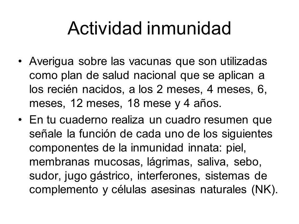 Actividad inmunidad Averigua sobre las vacunas que son utilizadas como plan de salud nacional que se aplican a los recién nacidos, a los 2 meses, 4 me