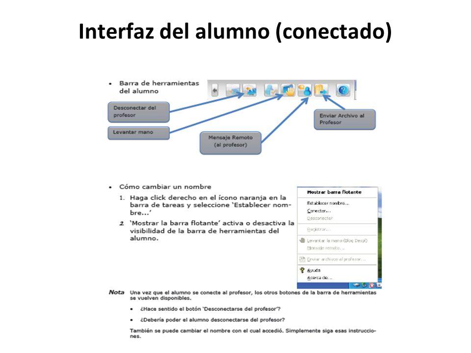 Interfaz del alumno (conectado)