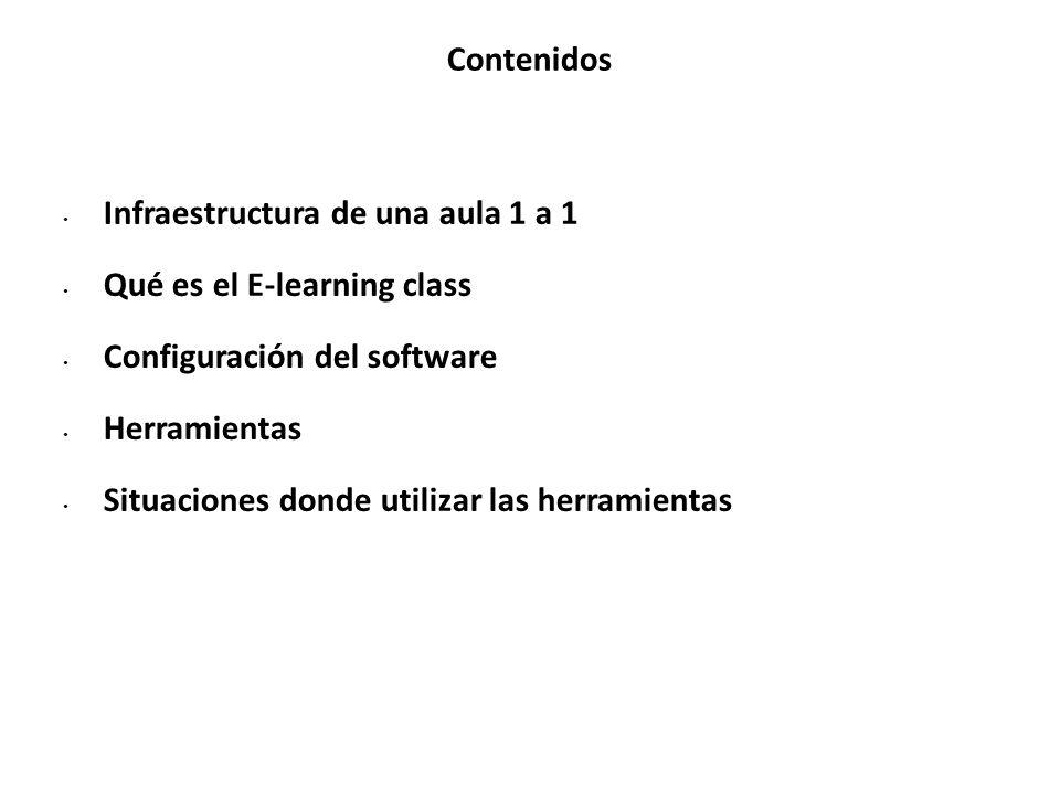 Contenidos Infraestructura de una aula 1 a 1 Qué es el E-learning class Configuración del software Herramientas Situaciones donde utilizar las herramientas